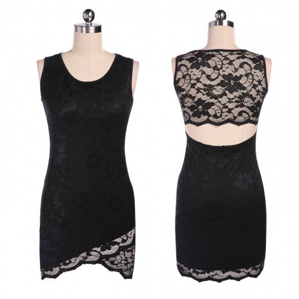 Fashion Women Floral Lace Hollow Slim Dress Party Clubwear Bodycon Tank Dress