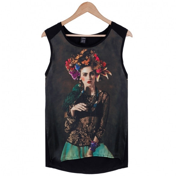 Fashion Women Casual Tank Tops Print Loose Sleeveless Blouse Tops