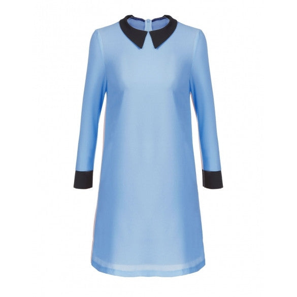 Stylish Lady Women's New Fashion Long Sleeve Turndown Collar Mini Dress