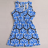 Fashion Ladies Women Sleeveless Sundress Floral Hollow Out Elastic Waist Slim Casual Dress