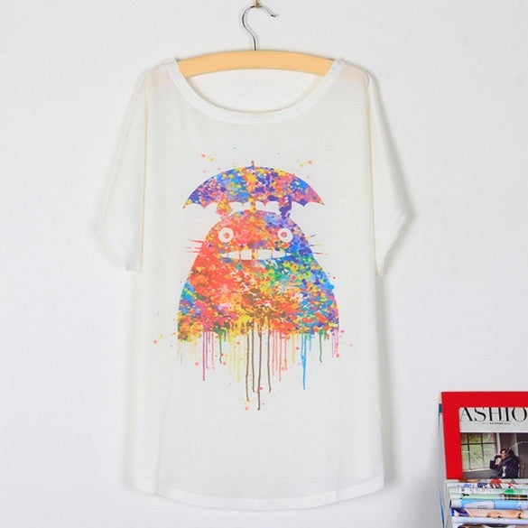 Fashion Women New Women Sexy Summer Loose Batwing Sleeve Animal Printed Casual T-Shirt Top