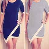 Fashion Women O-neck Half Sleeve Slim Bodycon Asymmetric Hem Casual Mini Dress