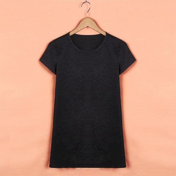 Fashion Women Casual O-Neck Short Sleeve Mini Dress Loose A-Line Stretch Solid Dress