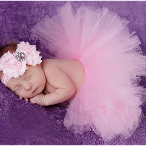 Fashion Infant Newborn Baby Girls Flower Headband Mesh Ball Gown Tutu Skirts Photography Accessory Prop