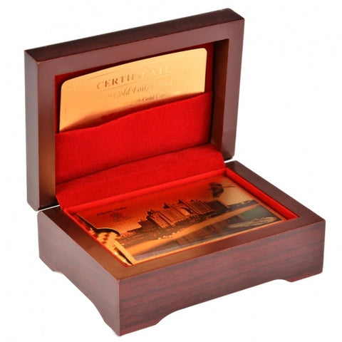 New Golden Color Playing Card With Wood Box And Certificate