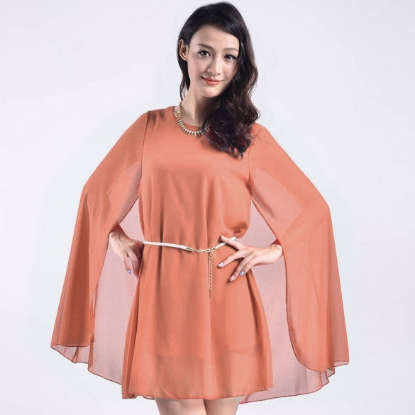 Fashion Women Chiffon O-Neck A-Line Cape Dress Solid Cocktail Party Mini Dress