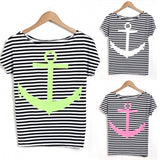 Fashion Ladies Women Short Sleeve Print Striped Loose Casual T-shirt Blouse