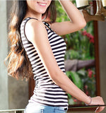 Fashion Ladies Woman Casual Sleeveless Vest Striped Loose Basic Loose Tank Tops
