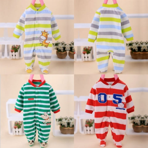 New Boy Girl Newborn Clothes Animal Print Baby Stripe Long Sleeve Romper Jumpsuit