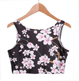 Fashion Sexy Women Crop Top Vest Sleeveless Floral Print Shirt Top Camisole