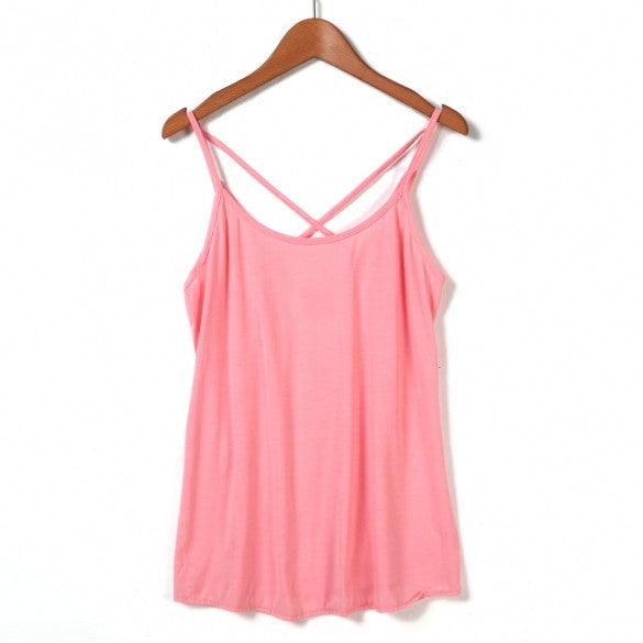 Fashion Lady Women Sexy Strap Cross Hollow Out Vest Pure Color Basic Casual Loose Tank Tops Camis