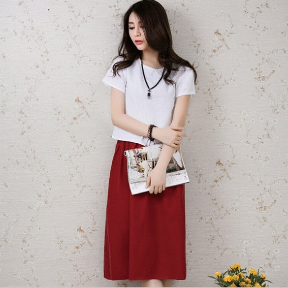 Stylish Women Girl Loose Elegant Vintage Twinset Expansion Medium-long Dress Linen Tops+ Skirt