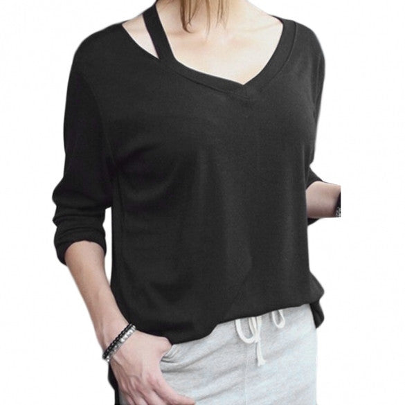 Fashion Ladies Women Plus Size Asymmetric Collar Long Sleeve Loose Casual Long Tops Blouse