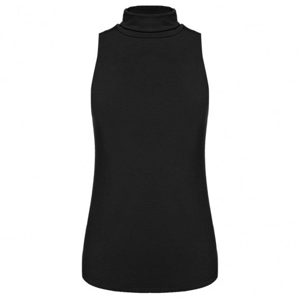 Fashion Women Turtle Neck Sleeveless Solid Slim Stretch Casual Blouse Tops
