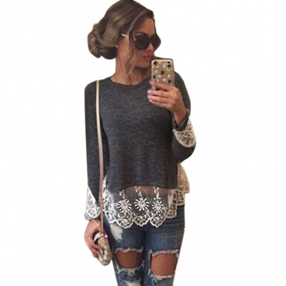 Fashion Women Casual Long Sleeve Round Neck Lace Patchwork T-shirt Tops