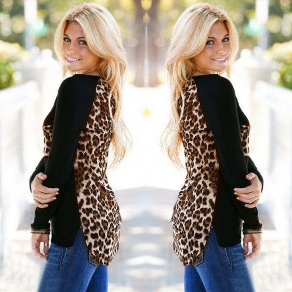Fashion Women Casual O-Neck Long Sleeve Chiffon Leopard Patchwork Asymmetrical Hem Blouse Tops