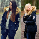 Fashion Women Faux Fur Collar Long Sleeve Hooded Drawstring Parka Outdoor Jacket Coat