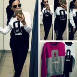 Stylish Ladies Women Lady Letter Print Warm Sports Leisure Casual Set Long Sleeve Pullover Hoodies Top + Pants