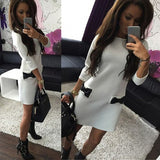Women Bow Mini Dress Straight Casual 3/4 Sleeve Solid Loose Dress