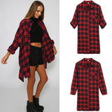 Fashion Women Long Sleeve Grid Loose Long Shirt T-Shirt