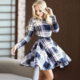 New Fashion Women Sexy Lady Long Sleeve O Neck High Waist Geometric Print Casual Mini Pleated Dress With Belt