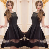 Elegant Women Dress Party Evening A-Line O-neck Short Sleeve Mesh Patchwork Dress