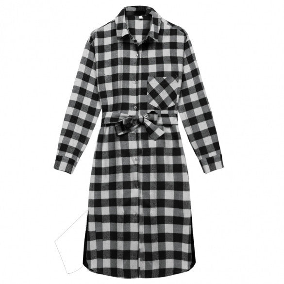 Fashion Women Lady Long Sleeve Plaid Check Straight Tunic Casual Blouse Shirt Dress With Belt
