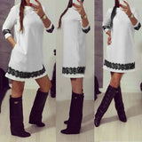 Women Fashion Round Neck 3/4 Sleeve Lace Trimming A-Line Short Dress