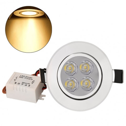 12W 85-265V Warm White Cool White Silver LED Ceiling Recessed Down Light And Driver