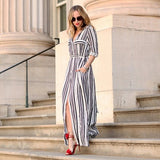 New Women Casual Sexy Maxi Side Slit Party Striped Long Maxi Shirt Dress