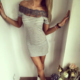Sexy Fashion Women Off Shoulder Lace Patchwork Stripe Package Hip Bodycon Mini Dress