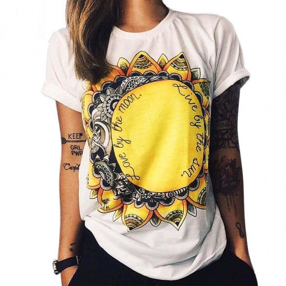 Unisex Women Men Fashion Casual Round Neck Short Sleeve Print T-Shirts Top Tees