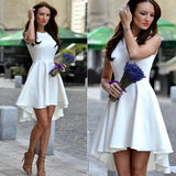 New Fashion Women Ladies Sleeveless Asymmetric Hem Pure Color Slim Casual Party Sundress