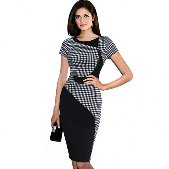 New Women Casual O-Neck Patchwork Plaid Slim Fit Short Sleeve Party Work Office Career Pencil Bodycon Dress