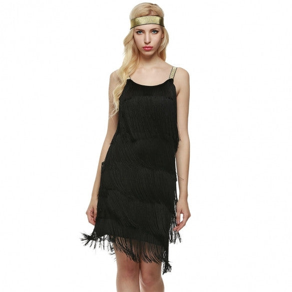 New Fashion Women Straps Dress Tassels Glam Party Dress Gatsby Fringe Flapper Costume Dress
