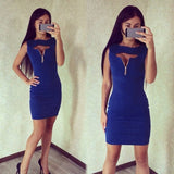 Women Fashion Sexy Round Neck Sleeveless Hollow Keyhole Zip-up Solid Short Pencil Dress Party Club Wear