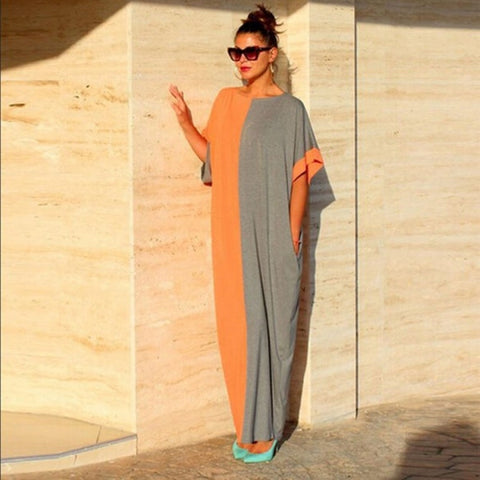 Women Fashion Summer Boho O-neck Batwing Sleeve Color-Patchwork Evening Party Beach Long Loose Sundress