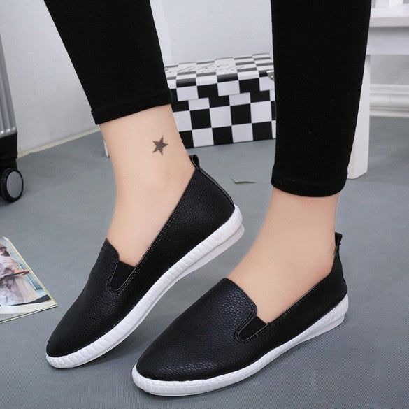 e01edd4e4ebd Korean Fashion Women Casual Flat Shoes Solid Loafers Slip On Flats Round  Toe 3 Colors Size