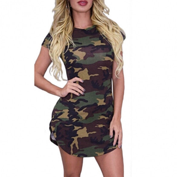 New Fashion Women Casual O-neck Camouflage Print Bodycon Slim Fit Mini Dress