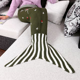 Children Handmade Knitted Print Mermaid Tail Shape Blanket Sleeping Sofa Blanket