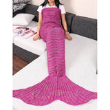 Adult Handmade Knitted Wave Mermaid Tail Shape Blanket Sleeping Sofa Blanket