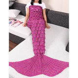 Adult Handmade Knitted Fish Scale Mermaid Tail Shape Blanket Sleeping Sofa Blanket