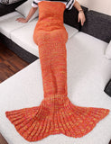 Adult Stylish Knitting Sleeping Bag Fish Mermaid Tail Design Sofa Blanket
