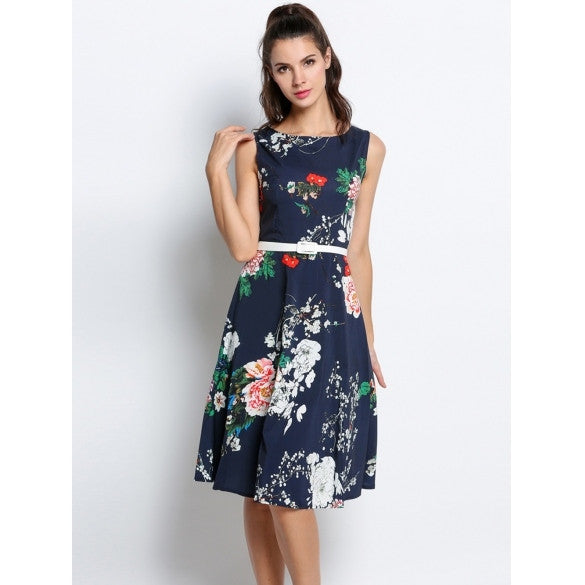 Vintage Style Women O-Neck Sleeveless Floral Print Swing Party Dress W/ Belt