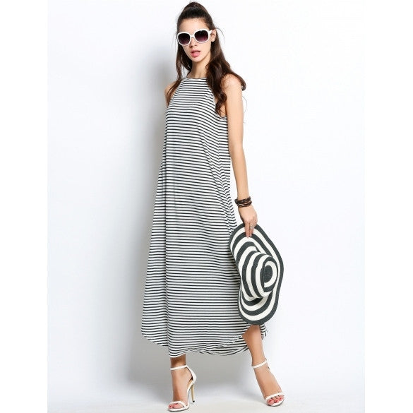Fashion Women Sleeveless Striped Casual Long Maxi Swing Dress