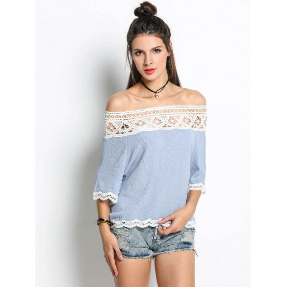 Fashion Women Hollow Lace Off Shoulder 3/4 Sleeve Blouse Tops