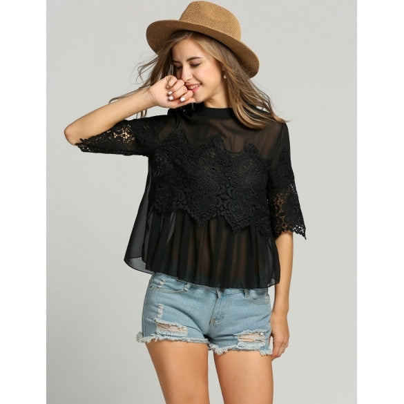 Fashion Women O-Neck 3/4 Sleeve Lace Sheer Chiffon Patchwork Blouse Tops