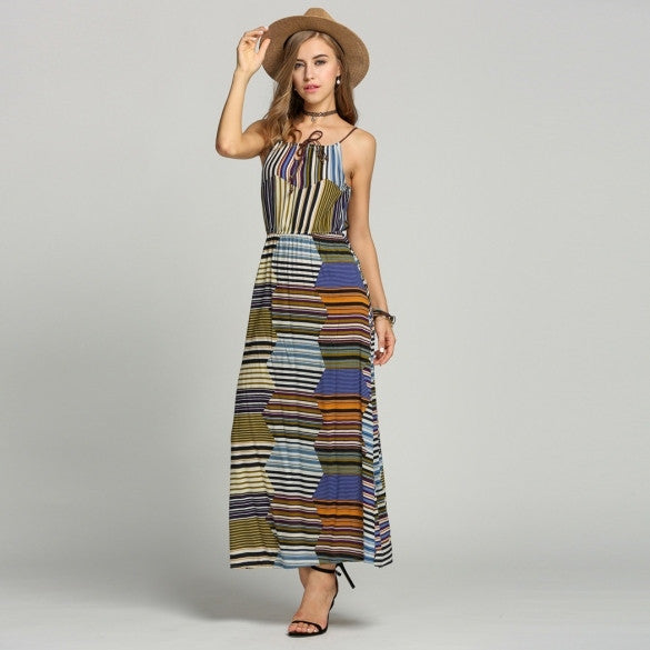 Bohemian Style Summer Women Strap Striped Long Maxi Beach Dress
