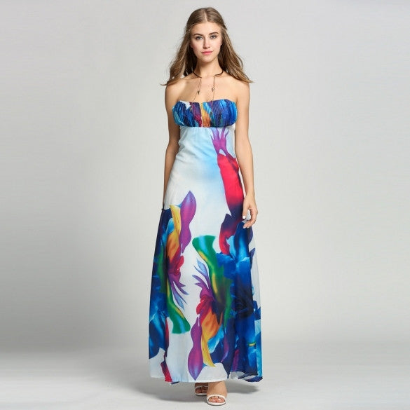 Women Fashion Sexy Strapless Off Shoudler Floral Evening Party Cocktail Dress A-Line Long Maxi Dress