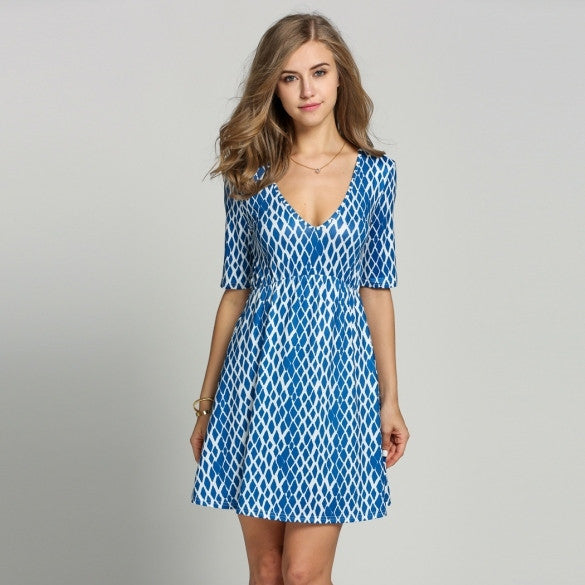 Fashion Women Deep V-Neck Medium Sleeve Print A-Line Dress